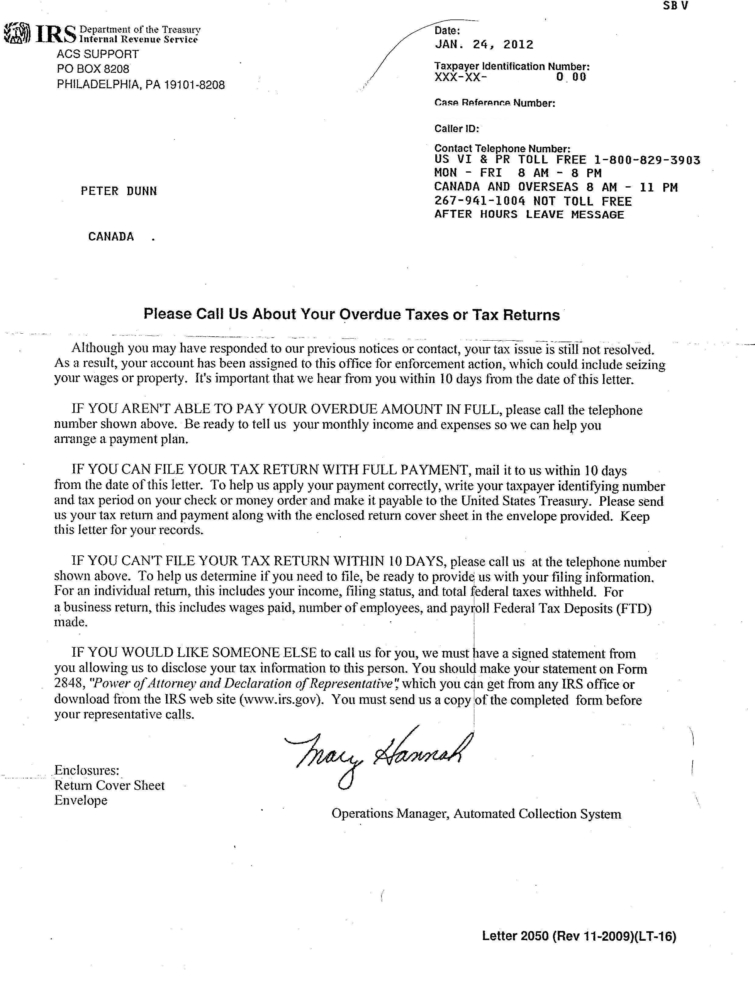 The isaac brock society letter from the irs for Letter to the irs template